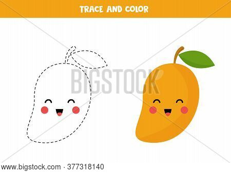 Tracing And Coloring Cute Cartoon Kawaii Mango.