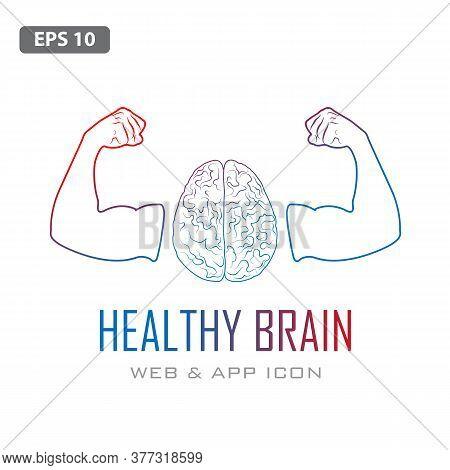 Human Brain With Strong Bicep Hands Of Bodybuilder. Power Brain Emblem, Genius Concept. Brain Traini