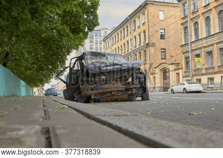 Car Crash Accident On The Road In The Big City