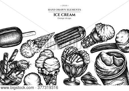 Design With Black And White Ice Cream Bowls, Ice Cream Bucket, Popsicle Ice Cream, Ice Cream Cones S