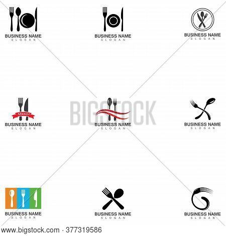 Fork, Knife And Spoon Icon Logo Vector Template.design For Restaurant.