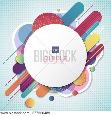 Abstract Colorful Geometric Pattern Composition Rounded Line Shapes Diagonal Transition On White Bac