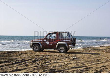 Hodeida, Bab El Mande / Yemen - 03 Jan 2013: The Car On The Coast Of Red Sea, Bab El Mande, Hodeida,