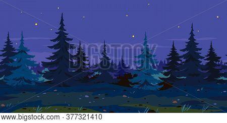 Ground Trail Along Spruce Forest At Night Game Background Tillable Horizontally, Tourist Route At Mi