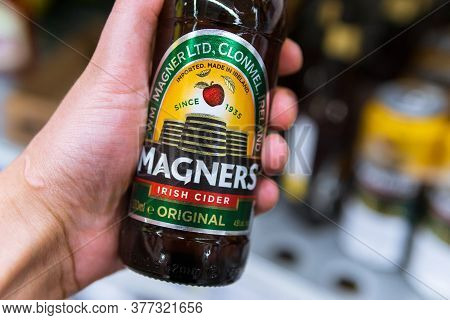 Tyumen, Russia-july 12, 2020: Magners Original Cider. An Irish Alcoholic Beverage Made From Apples.