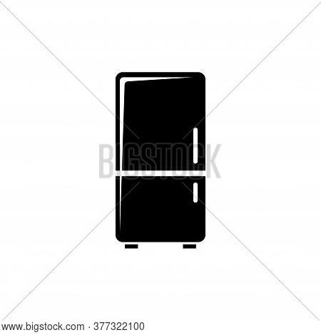 Fridge Refrigerator, Freezer Cold, Cooler. Flat Vector Icon Illustration. Simple Black Symbol On Whi