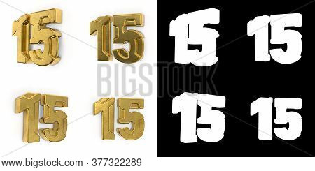 Set Of Golden Number 15 (number Fifteen) Left Side View And Right Side View, With Alpha Channel And