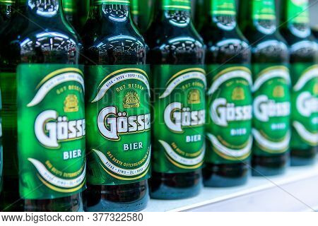 Tyumen, Russia-may 17, 2020: Gosser Beer In A Supermarket Shelf. A Brand Of Austrian Beer Produced A