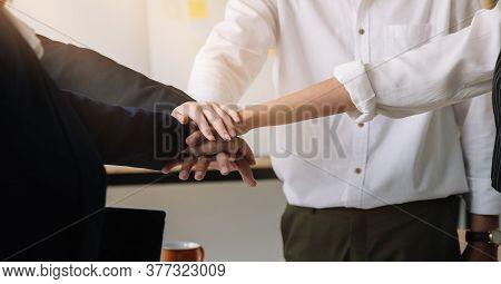 Teamwork Join Hands Support Together Business Teamwork Concept