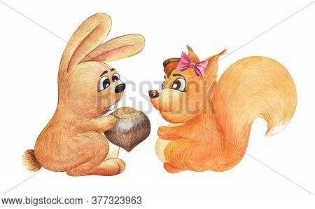 Watercolor Image Of Cute Cartoon Rabbit Giving Big Whole Hazelnut To Lovely Squirrel With Big Eyes,