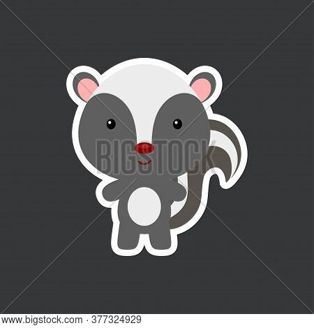 Cute Funny Baby Skunk Sticker. Woodland Adorable Animal Character For Design Of Album, Scrapbook, Ca