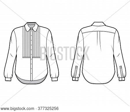 Shirt Technical Fashion Illustration With Bib, Button Down Front Opening, Round Collar, Long Sleeves