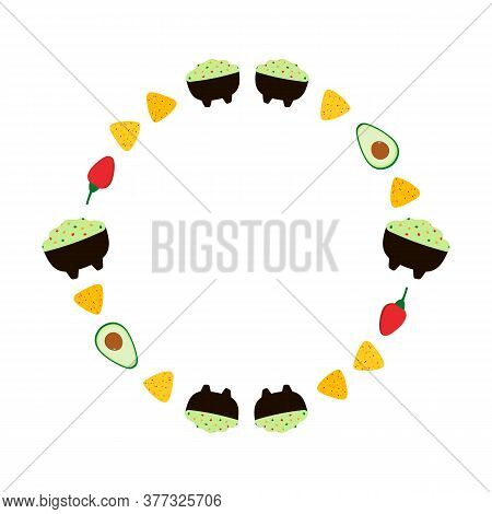 Round Vector Frame, Card Template With Mexican Guacamole Dip, Spread, Sauce In Bowl And Avocado, Chi