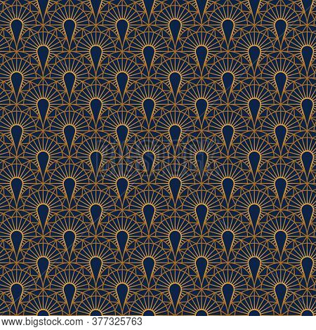 A Seamless Art Deco Pattern Is Depicted On A Dark Blue Background. Art Deco Geometric Gold Seamless