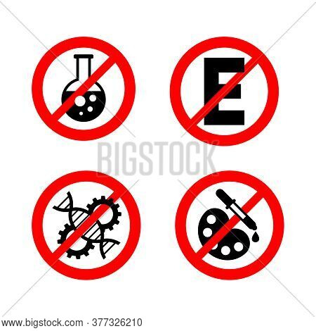 No Preservatives, No Gmo, No Additives, E Number And Dye Free Sign - Organic Food Stickers - Set Of