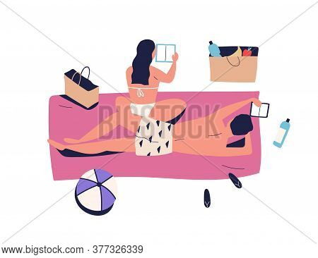 Sunbathing Couple, Woman And Man On Vacation Picnic, Reading Book. Girlfriend And Boyfriend Chill, R