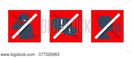 Keep Quiet Stickers Or Badges - No Phone Talking, Silence Please, Dont Speak - Prohibition Vector Si