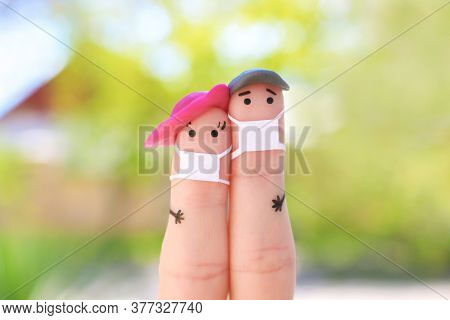 Fingers Art Of Couple With Face Mask On Walk.