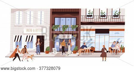 People Outdoor At Small Urban Street Vector Flat Illustration. Happy Man, Woman, Couple And Friends