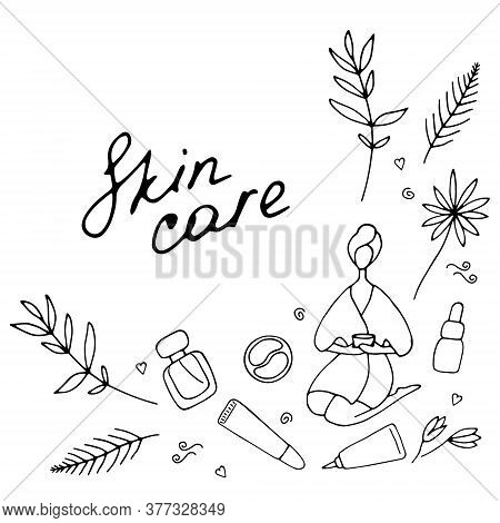 Skin Care And Beauty Concept. Template For Salon And Spa. Cute Hand Drawn Beauty Icons. Vector Illus