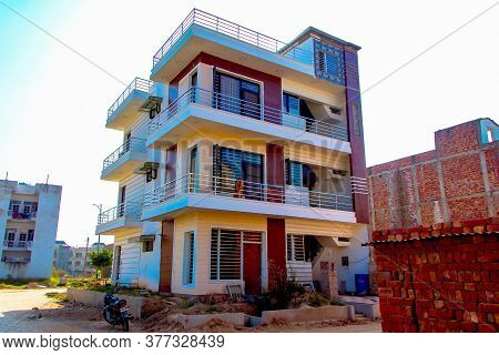 Ahmedabad, Gujrat, India,- June 2019 : View Of An New Construction Of Small Home In Ahmedabad