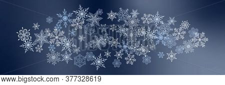 Beautiful Christmas Background With Various Complex Big And Small Snowflakes Isolated On Dark. Moder
