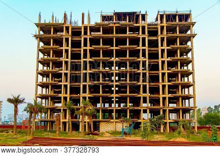 Ahmedabad, Gujrat, India,- June 2019 : View Of An New Construction Of Big Building In Ahmedabad
