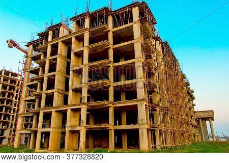 Rajkot, Gujrat, India,- June 2019 : View Of An New Construction Of Big Building In Rajkot