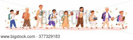 Set Of Boys And Girls Going To Elementary Or Middle School Vector Illustration. Happy Pupils Holding