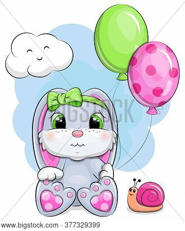 Cute Cartoon Baby Rabbit With Balloons And Snail. Vector Illustration Of Animal On The Blue Backgrou