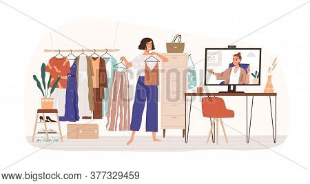 Woman Personal Stylist Consulting Client Online Vector Flat Illustration. Female Demonstrate Clothes