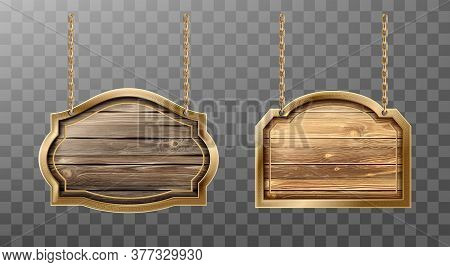 Wooden Boards Metal Frame Hang On Ropes Set. Realistic Signboards With Wood Texture, Banner Label Fo