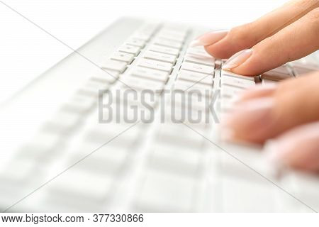 Hand Typing. Hand Typing On Desktop Office Computer Keyboard. Woman Using Laptop. Female Online Work