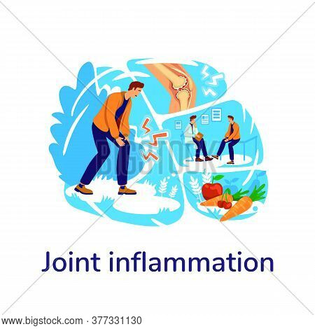 Arthritis Flat Concept Vector Illustration. Joint Inflammation Phrase. Trauma Rehab. Patient With Hu