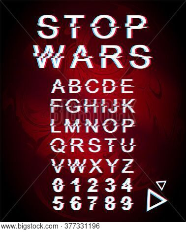 Stop Wars Font Template. Retro Futuristic Style Vector Alphabet Set On Red Marbling Background. Capi