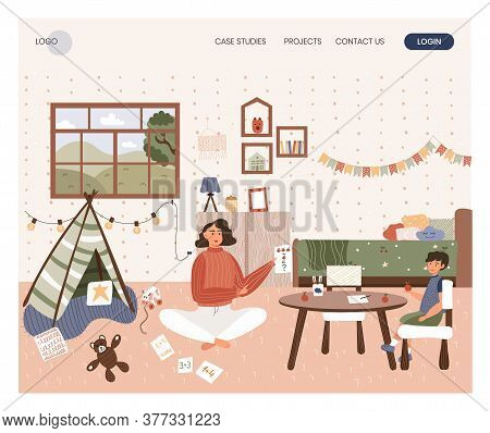 Woman Teach Her Son Mental Arithmetic Using Cards. Home School Concept Illustration. Vector Web Site