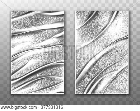 Foil Sheets, Silver Stretch Film For Wrapping Food And Protection Packaging. Vector Realistic Mockup