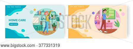 Woman Clean Home And Remove Dust. Man Check Todo List. Concept Illustration. Vector Web Site Design