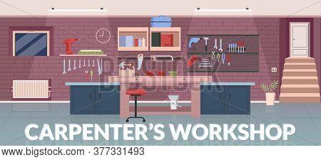Carpenter Workshop Banner Flat Vector Template. Professional Woodworking, Joinery Service Brochure,