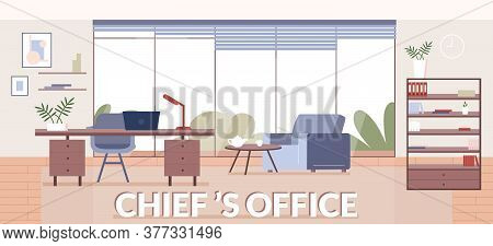 Chiefs Office Banner Flat Vector Template. Interior Design Company, Furniture Store Brochure, Bookle