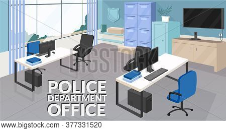 Police Department Office Banner Flat Vector Template. Law Enforcement, Security Agency Brochure, Boo