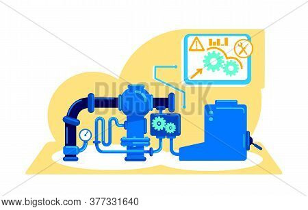Machinery Flat Concept Vector Illustration. Industrial Computerization Process. Automative Productio