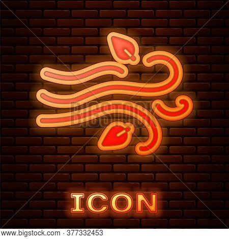 Glowing Neon Wind Icon Isolated On Brick Wall Background. Windy Weather. Vector Illustration