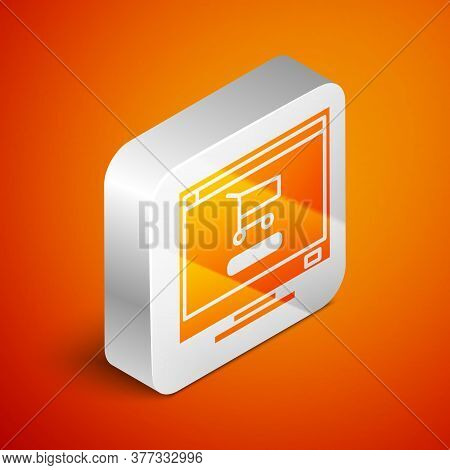 Isometric Shopping Cart On Screen Computer Icon Isolated On Orange Background. Concept E-commerce, E