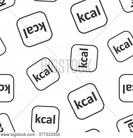 Kcal Icon In Flat Style. Diet Vector Illustration On White Isolated Background. Calories Seamless Pa