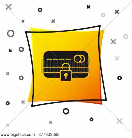 Black Credit Card With Lock Icon Isolated On White Background. Locked Bank Card. Security, Safety, P