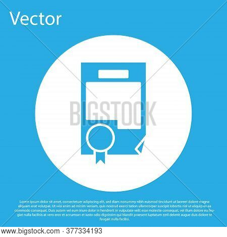 Blue Certificate Template Icon Isolated On Blue Background. Achievement, Award, Degree, Grant, Diplo