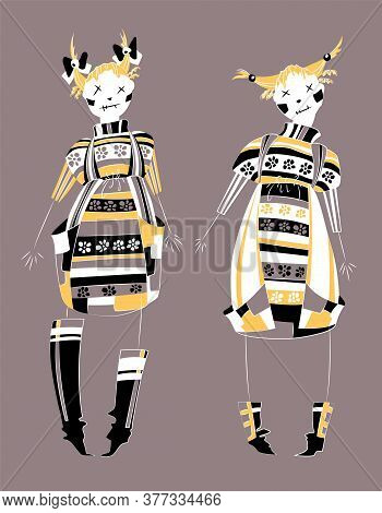 Cute Voodoo Doll In Flat Style. Smile Girls Skeleton With Dress, Character Design. Hand Drawing Deco