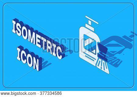 Isometric Shaving Gel Foam And Brush Icon Isolated On Blue Background. Shaving Cream. Vector Illustr