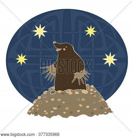 Mole Gets Out Of The Moun Vector Art
